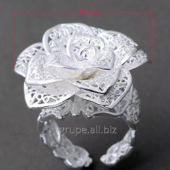Кольцо цветок серебро