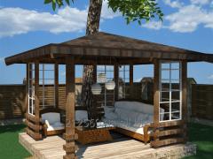 Скамейки, стол, клумба, будка собачья, домик деревянный, детский домик, песочница