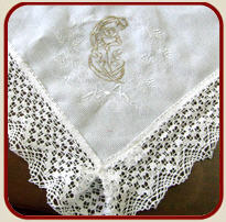 Table clothing with embroidery. Production of
