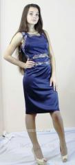 Blue satin dress 4002