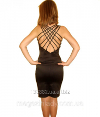 Black satin dress with an open back. 4002