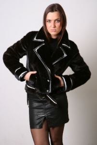 Jacket from natural fur of mink, insert from