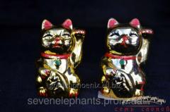 Figurine Maneki Neko's Cats (gold, couple)