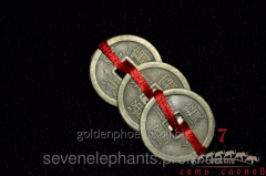 Feng shui goods Three coins connected by a red