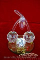 Кулон Черешня/кристалл 13х12