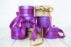 Round boxes for gifts, flowers, cakes, sweets,