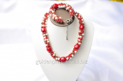 Beads and bracelet from a stone Pearls and the