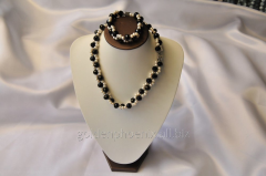 Beads and bracelet from a stone Pearls and Agate