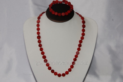 Beads and bracelet from a natural stone the Coral