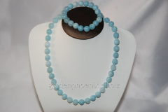 Beads and bracelet from a stone Aquamarine
