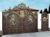 Ворота кованые с элементом декора, Лев
