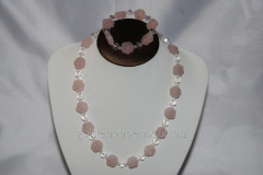 Beads and bracelet from a stone Pink quartz