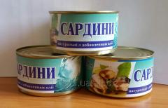 Сардины натуральные с добавлением масла.