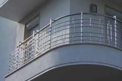 Handrail for balconies from a stainless steel
