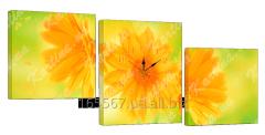 Картина модульная с часами 27 желтые цветы...