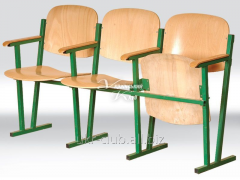 Assembly hall chair, 3-seater bent and glue