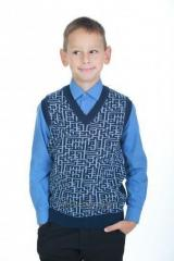 Vest knitted 2939 Labyrinth, blue