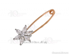 Gold pin of the 585th test with cubic zirconias,