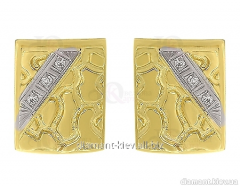 Gold cuff links of the 585th test with diamonds,