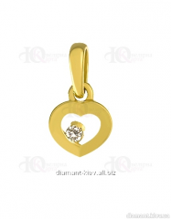Gold pendent of the 585th test with diamond, the