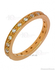 Golden wedding ring of the 585th test with cubic