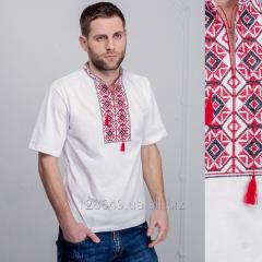 Белая мужская футболка с красно-черной вышивкой