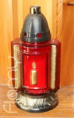 Лампадка 36-13, красный стеклянный корпус Свечка, время горения 36 часов