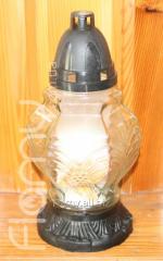 Лампадка 36-3, стеклянный корпус Ромб с цветком, время горения 36 часов