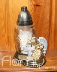 Лампадка 36П-04, стеклянный прозрачный корпус с декоративным элементом, горение 36 часов