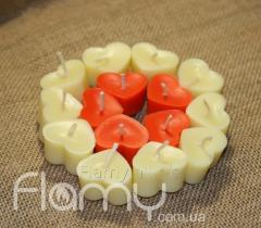 Свечи плавающие парафиновые, сердечки, 15 штук