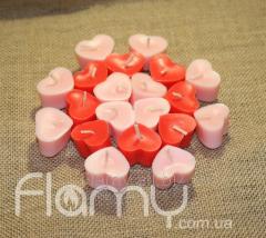 Свечи плавающие парафиновые, сердечки, 20 штук