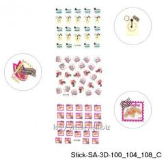 3D stickers for design of nails on a sticky basis.