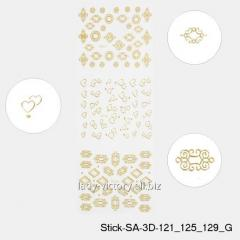 3D stickers for design of nails. Gold. Stick-SA-3D