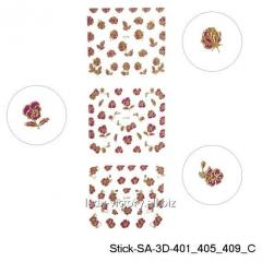 3D stickers for design of nails. Gold color.