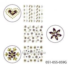 3D stickers for design of nails. Gold with black.