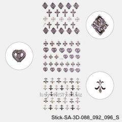 3D stickers for design of nails. Serebryannye.