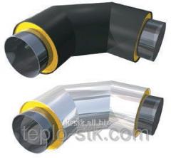Колено теплоизолированное ППУ для стальной трубы 108/200 мм в ПЕ оболочке (земля)