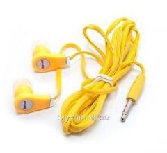 Earphones of Lenovo of a MP3 Yellow