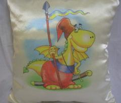 Pillow satin with a symbol of Ukraine
