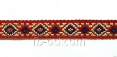 Tape of woven 1 cm/2 colors; red basis. P07945