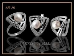 The Ring set and earrings with pearls