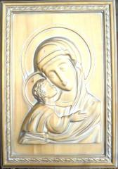 Icon carved on a linden patinated gold + silver