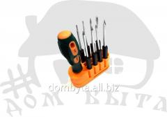 Set of screw-drivers with replaceable nozzles of