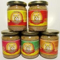 Meat diet for cats of 460 grams (canned food,