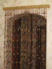 Curtains from wooden beads.