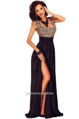 Dress evening maxi of golden-beige Dl-60809 laces
