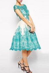 Платье коктейльное Rsg-2235 бирюзовое пышное миди