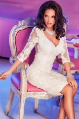 Midi dress lacy Mk-60754, white on a wedding