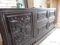 The furniture is carved