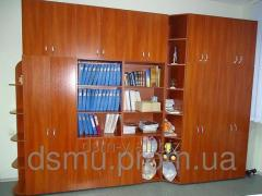 The wall is office, cases for documents, clothes,